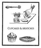 Bakery preparation, Food engraving collage, making cupcakes and brioches Stock Images