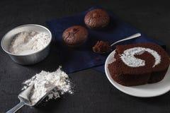 Bakery prepare for make Chocolate brownie cake royalty free stock photos