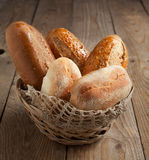 Bakery product assortment with bread loaves and buns Royalty Free Stock Photography