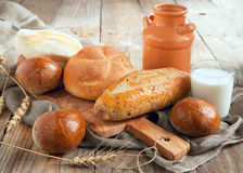 Bakery product assortment with bread loaves and buns Stock Images