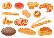 Bakery product assortment set. Vector illustration. Royalty Free Stock Image