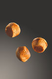 Bakery product. Delicious different buns and  jumping bakery con Royalty Free Stock Photography