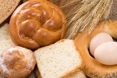 Bakery product on sackcloth Stock Photo