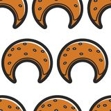 Bakery product seamless pattern pastry moon or crescent shape. Pastry moon or crescent shape bakery product seamless pattern vector puff dough and filling vector illustration