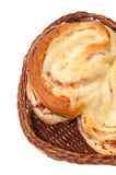 Bakery product in wooden wicker basket Stock Photography