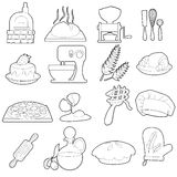 Bakery production icons set, outline cartoon style Stock Images