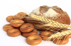 Bakery products. Several bread products lying on a white background Stock Photo