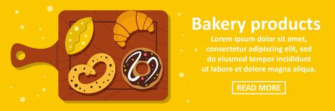 Bakery products banner horizontal concept. Flat illustration of bakery products banner horizontal vector concept for web Royalty Free Stock Images