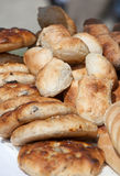 Bakery products: Buns and bread. Many wholegrain bakery products like buns and bread royalty free stock photography
