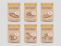 Bakery products cards with bread. Bakery products brochure flyer template design. Vector cards with bread and buns Royalty Free Stock Photos