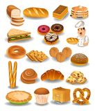 Bakery products collection, bread, cookies, pie. Bakery products collection like doughnuts, bread, cookies isolated on a white background stock illustration