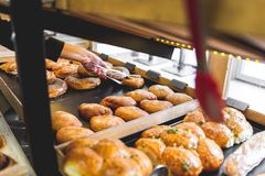 Bakery products on the counter. Food industry royalty free stock image
