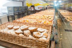 Bakery products on display. Against the background of ovens in the bakery stock image