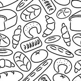 Bakery products doodle sketch icons seamless pattern Stock Photo