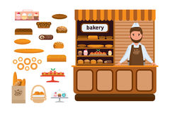 Bakery products and elite bread, sweets, seller in firm apron. Set of bakery products and elite bread, sweets. Seller in a apron and a headdress standing at the Royalty Free Stock Photography