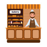 Bakery products and elite bread, sweets, seller in firm apron. Set of bakery products and elite bread, sweets. Seller in a apron and a headdress standing at the Royalty Free Stock Photo