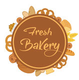 Bakery products frame with bread, loaf, buns. Vector illustration. Stock Images