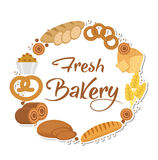 Bakery products frame, flat style. Set of different bread in a round  template for text, label, emblem. With inscription Stock Images