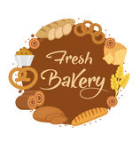 Bakery products frame, flat style. Set of different bread in a round  template for text, label, emblem. With inscription Stock Photos