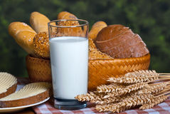 Bakery products and glass of milk Stock Photography
