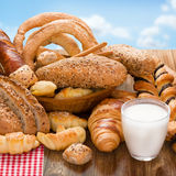 Bakery products and glass of milk Stock Photo