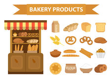 Bakery products icon set, flat style.  of different bread and pastry isolated on white background. Flour . Baking Royalty Free Stock Images