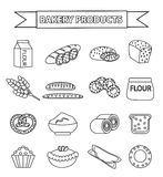 Bakery products icon set, line, outline, doodle style.  of different bread and pastry  on white background Royalty Free Stock Image