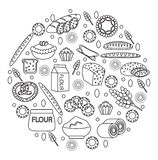 Bakery products icon set in a round shape, line, outline, doodle style.  of different bread and pastry  on white Stock Image