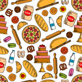 Bakery products with ingredients seamless pattern Stock Photo