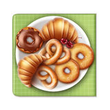 Bakery products on plate Royalty Free Stock Images