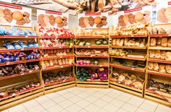Bakery products ready to sale in the supermarket Stock Photos