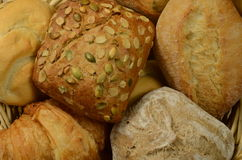 Bakery products: rolls and bread. Royalty Free Stock Photos