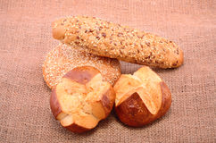 Bakery products on sackcloth Stock Photography