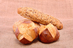 Bakery products on sackcloth Royalty Free Stock Image