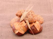 Bakery products on sackcloth Royalty Free Stock Photography