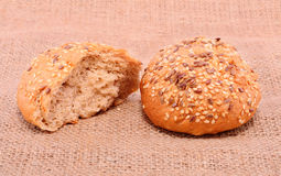 Bakery products on sackcloth Stock Images