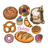 Bakery products set. Beautiful set of bakery products. hand-drawn illustration Stock Photography