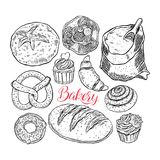 Bakery products set. Beautiful set of bakery products. hand-drawn illustration Stock Photos
