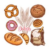 Bakery products set. Beautiful set of bakery products. hand-drawn illustration Stock Image