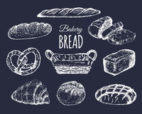 Bakery products set.Bread collection.Hand drawn loafs, croissant,bagel etc illustration with wicker basket.Pastry signs. Bakery products set. Bread collection stock illustration