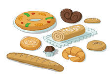 Bakery products. Set compounded by different kinds of bread and pastries Stock Photos