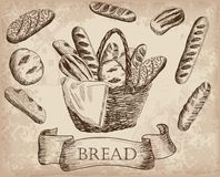 Bakery products. Set of vector sketches. hand drawn illustrations Stock Photography
