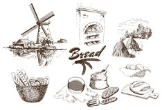 Bakery products. Set of vector sketches. hand drawn illustrations Royalty Free Stock Images