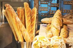 Bakery products in the bakery on the shelves. They are filled wi royalty free stock image