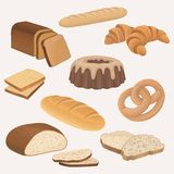 Bakery products shop vector icons set. Wheat and rye bread loaves, sliced bread toasts, croissant, chocolate cake. Bakery products shop icons set. Wheat and rye Stock Photos