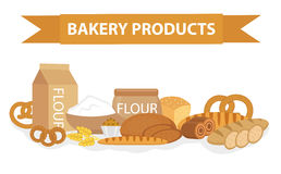 Bakery products still-life, flat style. Set of different bread banner. Vector illustration Royalty Free Stock Photography