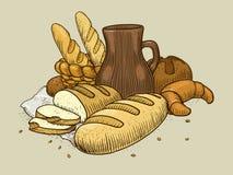 Bakery products still life vector illustration Royalty Free Stock Photos