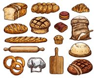 Fresh delicious soft bakery products sketches set Royalty Free Stock Image