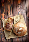 Bakery products and wheat Stock Images