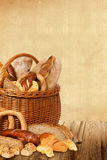 Bakery products in wicker basket Royalty Free Stock Image